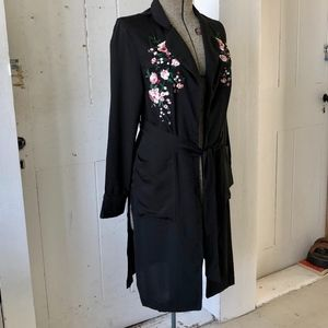 Fate by LFD Black Embroidered Duster Coat Kimono